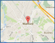 map of Watford showing local areas covered